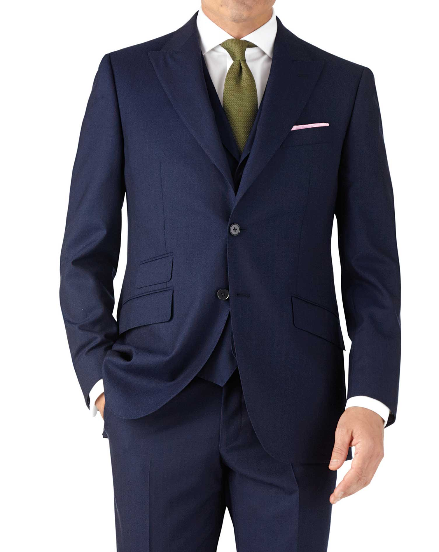 Blue Stripe Classic Fit Panama Business Suit Wool Jacket Size 48 Regular by Charles Tyrwhitt