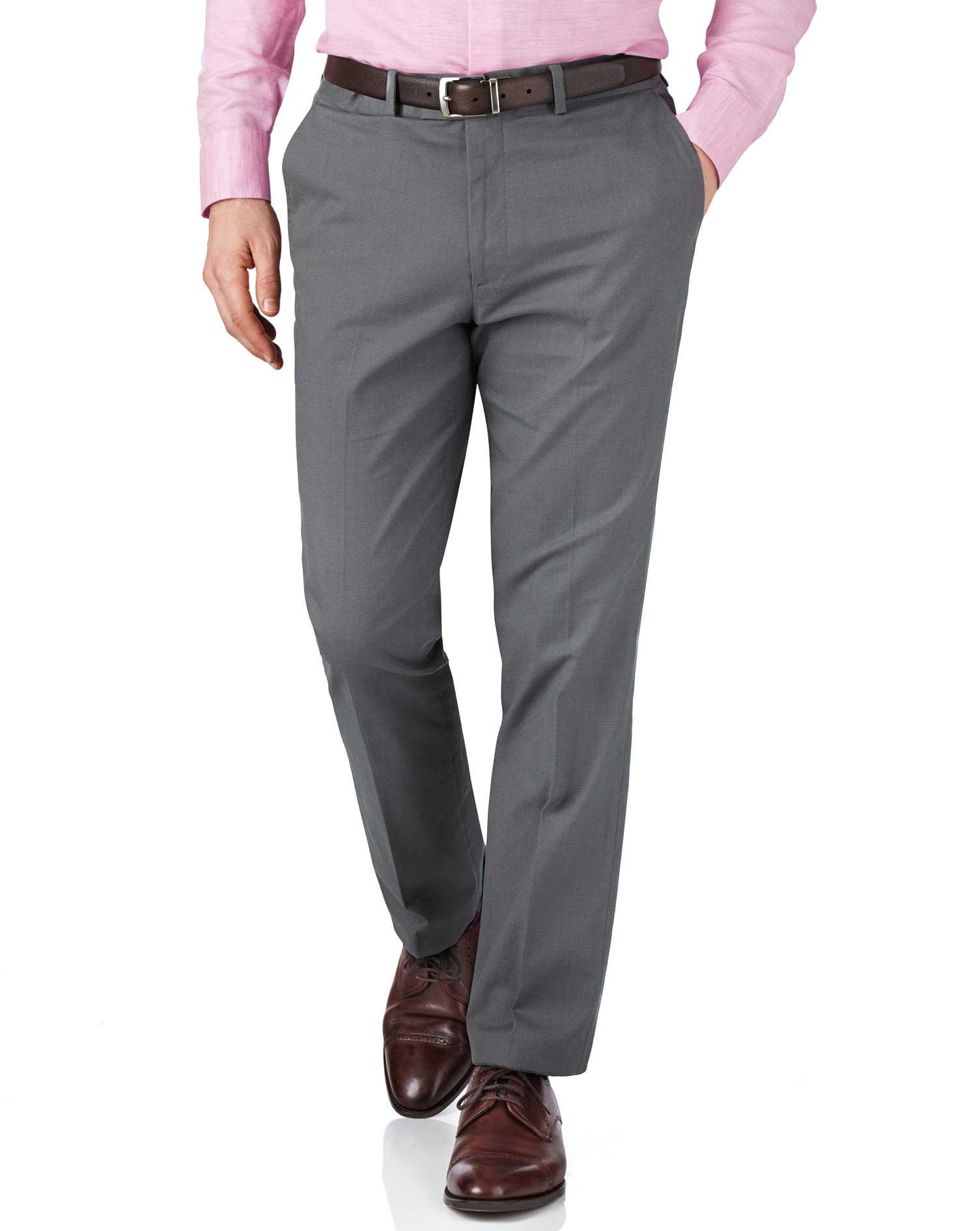Grey Slim Fit Pin Dot Trousers Size W40 L32 by Charles Tyrwhitt