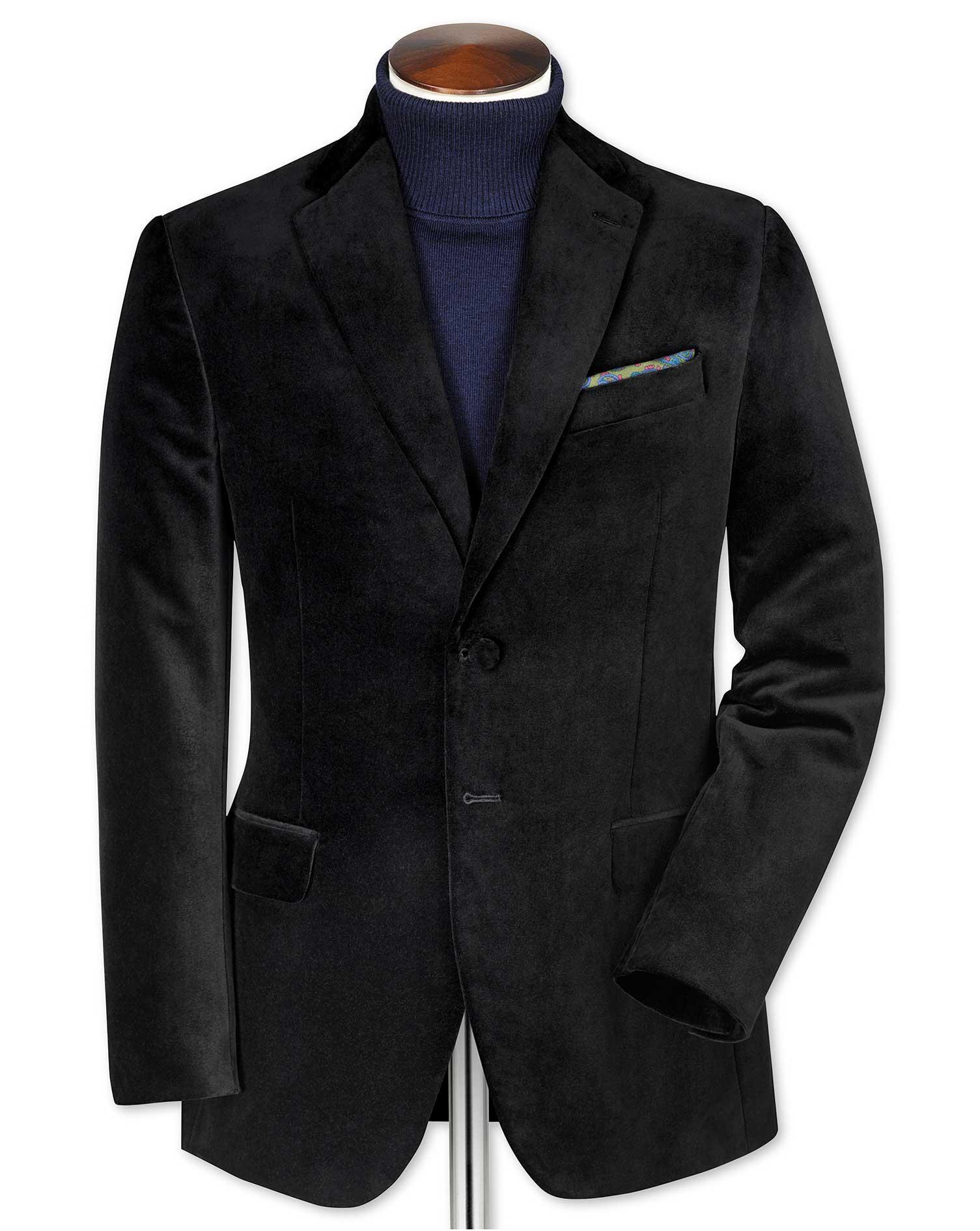 Slim Fit Black Velvet Cotton Blazer Size 46 Regular by Charles Tyrwhitt