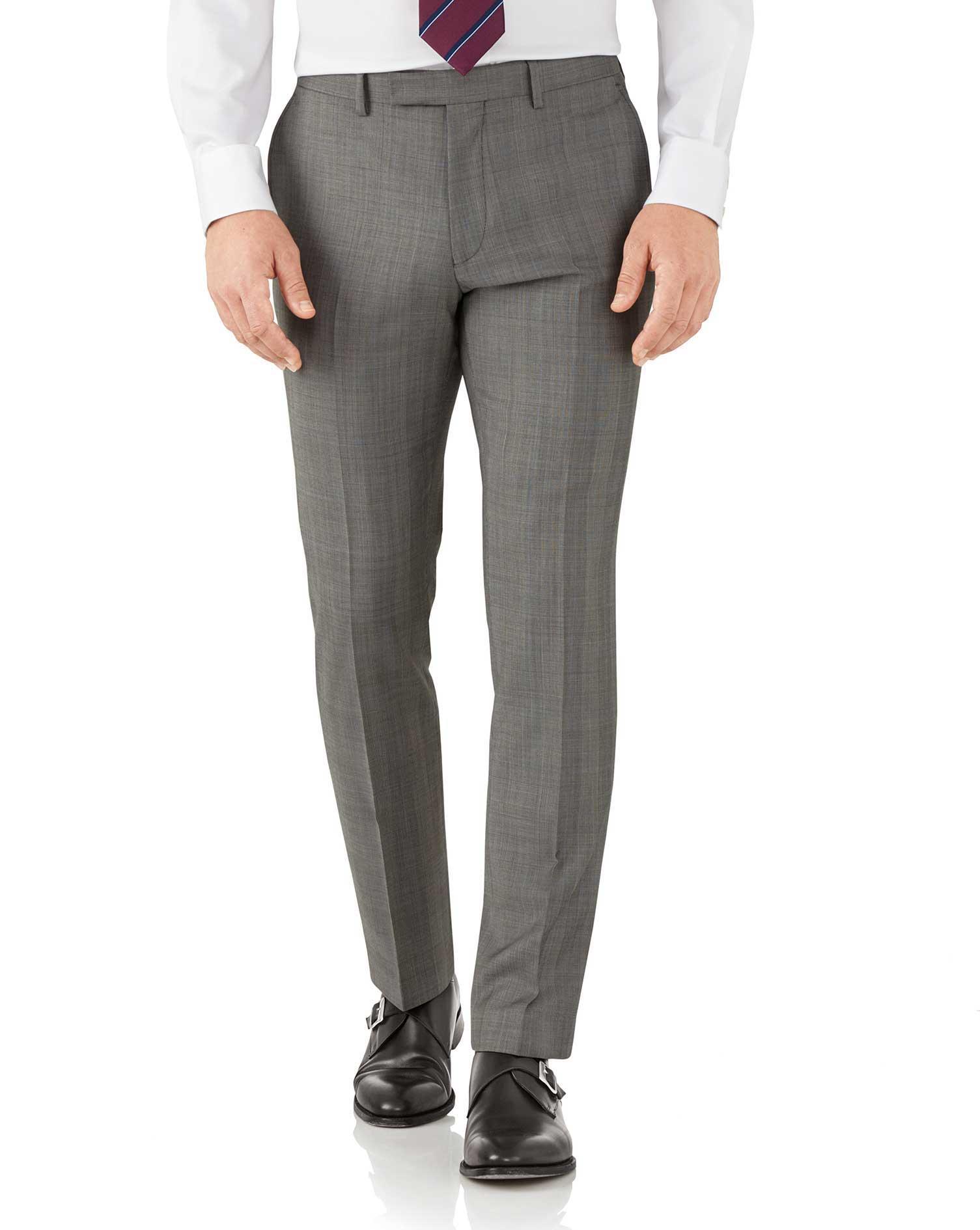 Silver Slim Fit Italian Sharkskin Luxury Check Suit Trousers Size W36 L32 by Charles Tyrwhitt