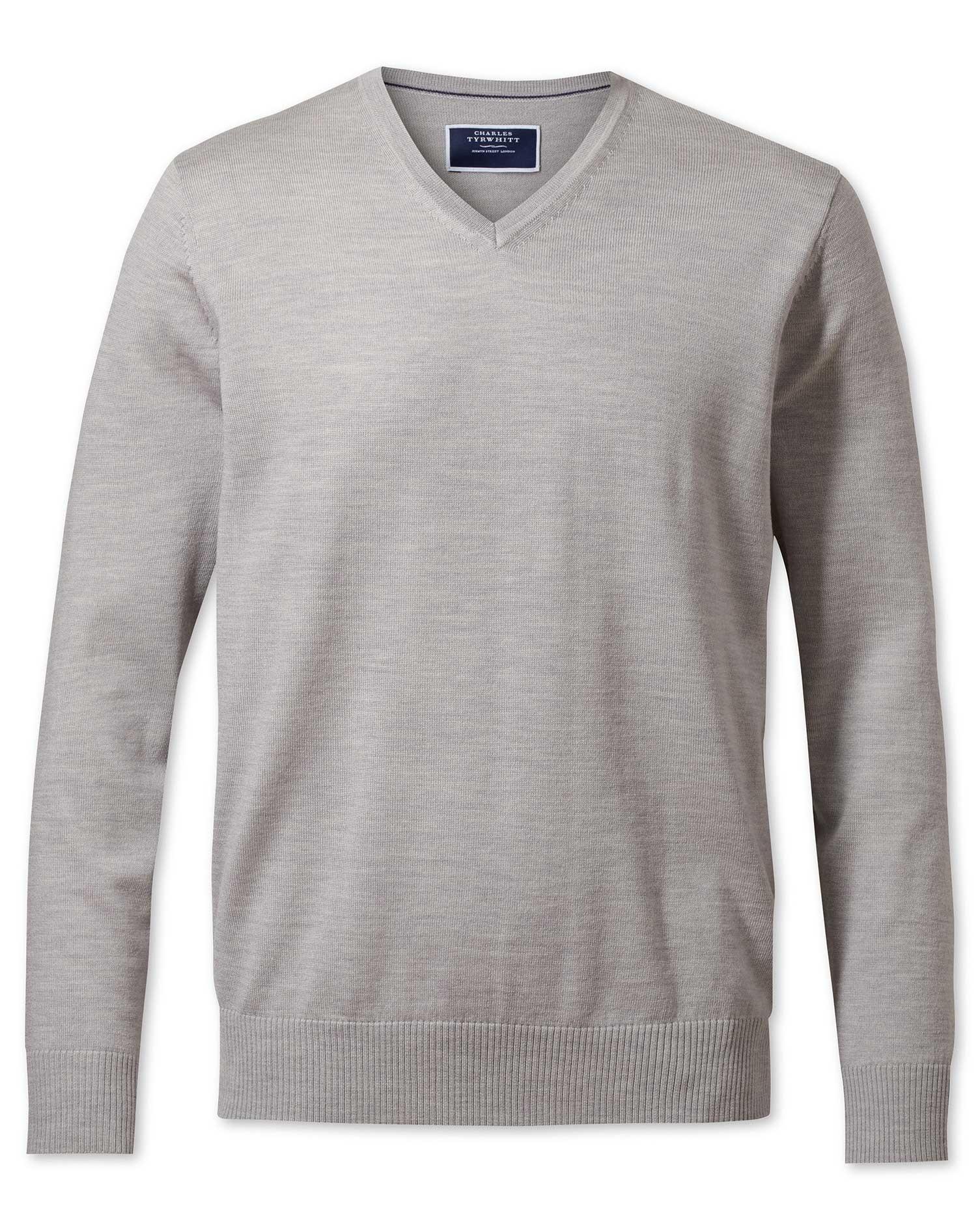 Silver Merino Wool V-Neck Jumper Size XXXL by Charles Tyrwhitt