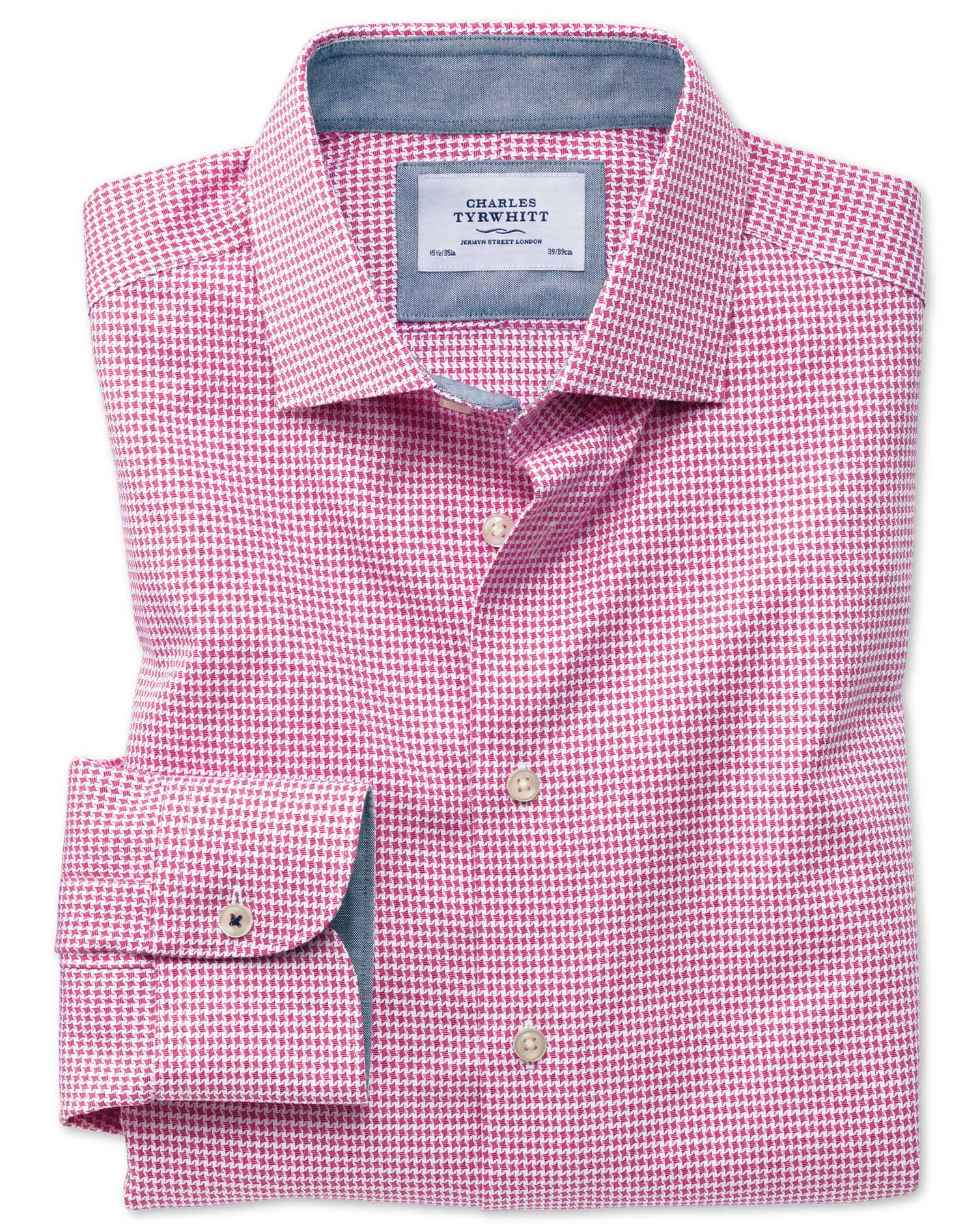 Slim Fit Semi-Cutaway Business Casual Non-Iron Modern Textures Pink Puppytooth Cotton Formal Shirt S