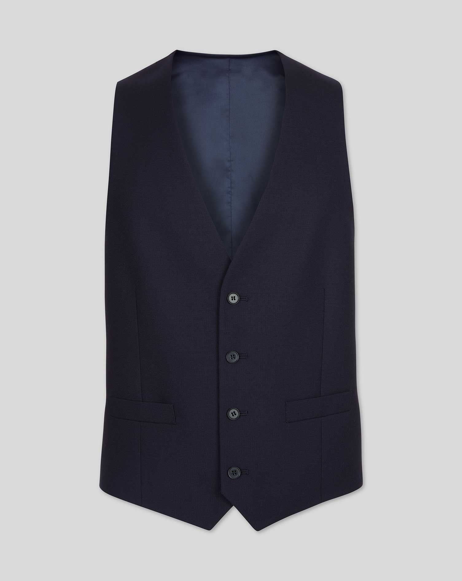 Navy adjustable fit twill business suit vest