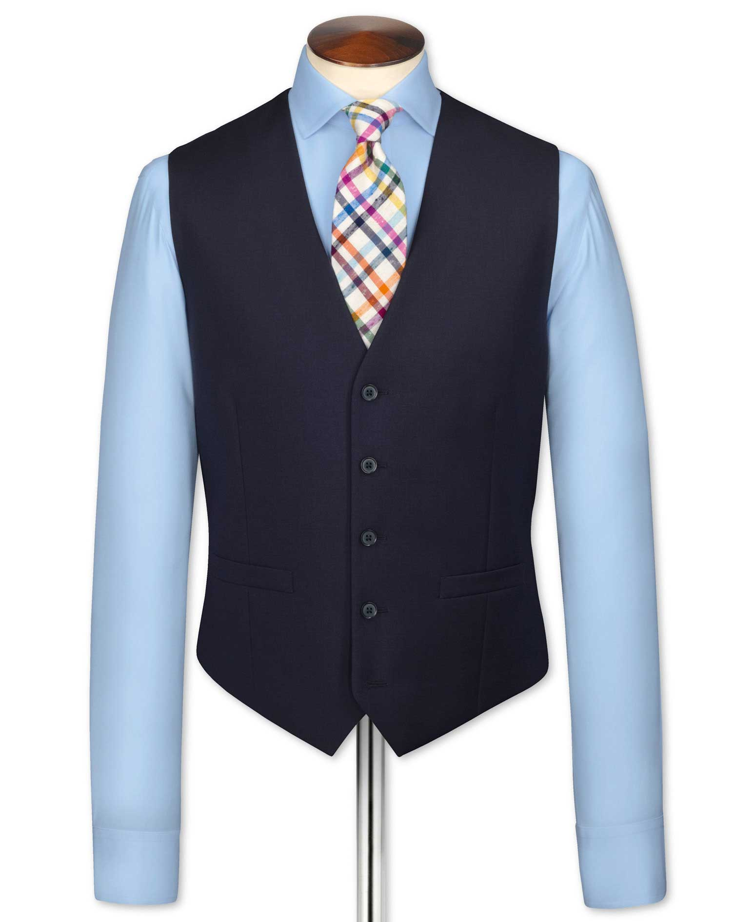 Navy Adjustable Fit Twill Business Suit Wool Waistcoat Size w48 by Charles Tyrwhitt