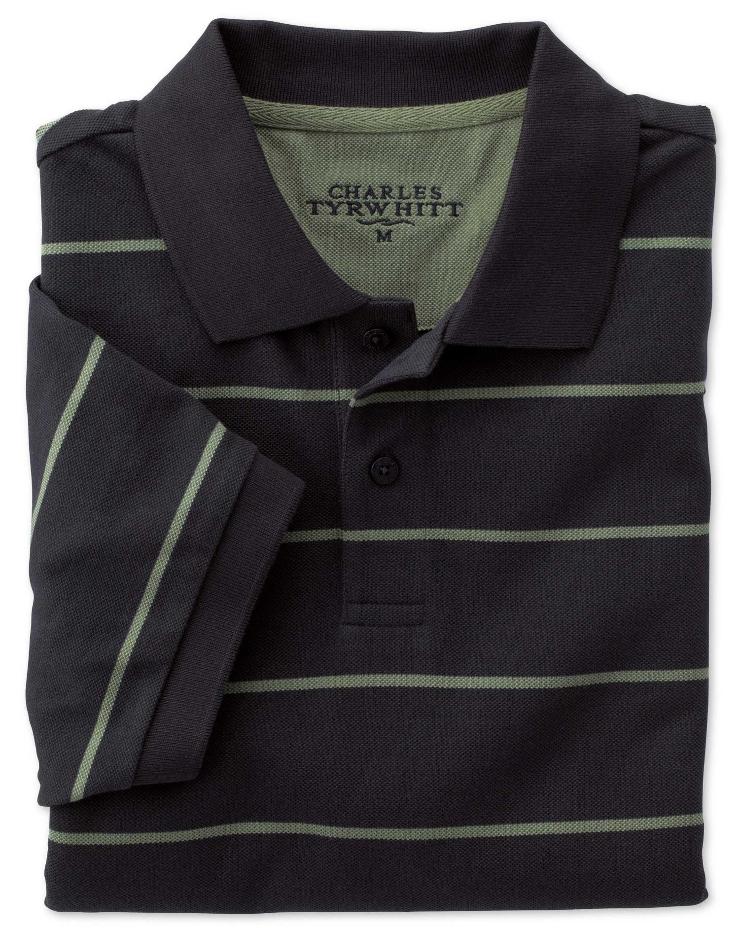 Navy and Green Multi Stripe Pique Cotton Polo Size XS by Charles Tyrwhitt