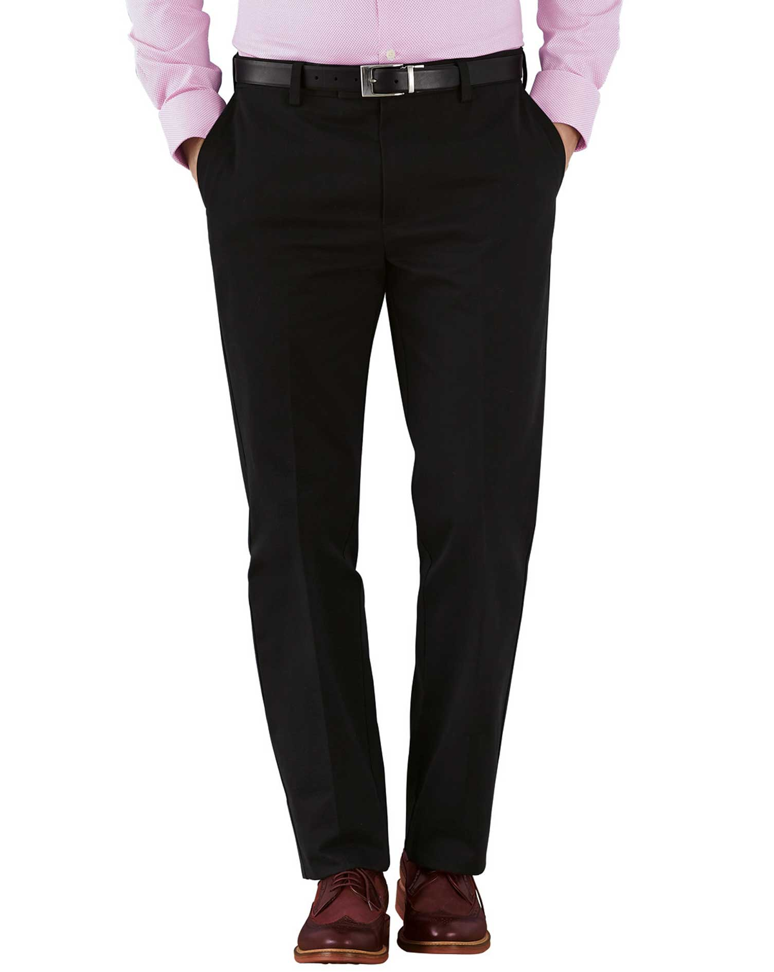Black Slim Fit Flat Front Non-Iron Cotton Chino Trousers Size W34 L38 by Charles Tyrwhitt