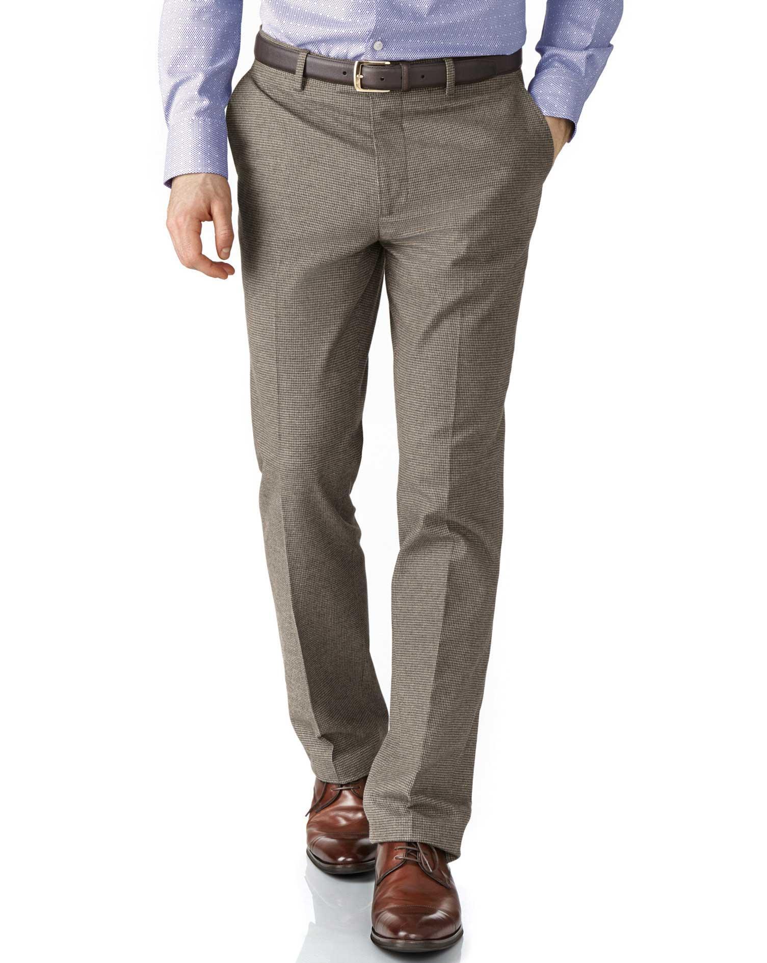 Beige Slim Fit Cotton Flannel Trouser Size W34 L32 by Charles Tyrwhitt