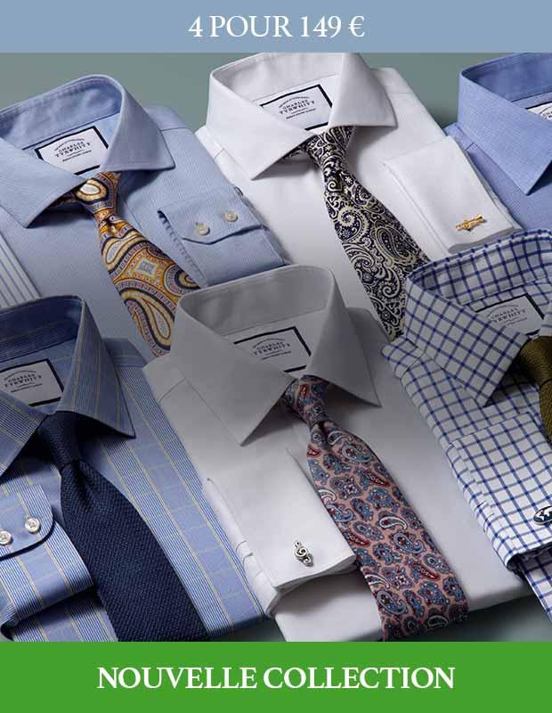 Chemises blanches et bleues