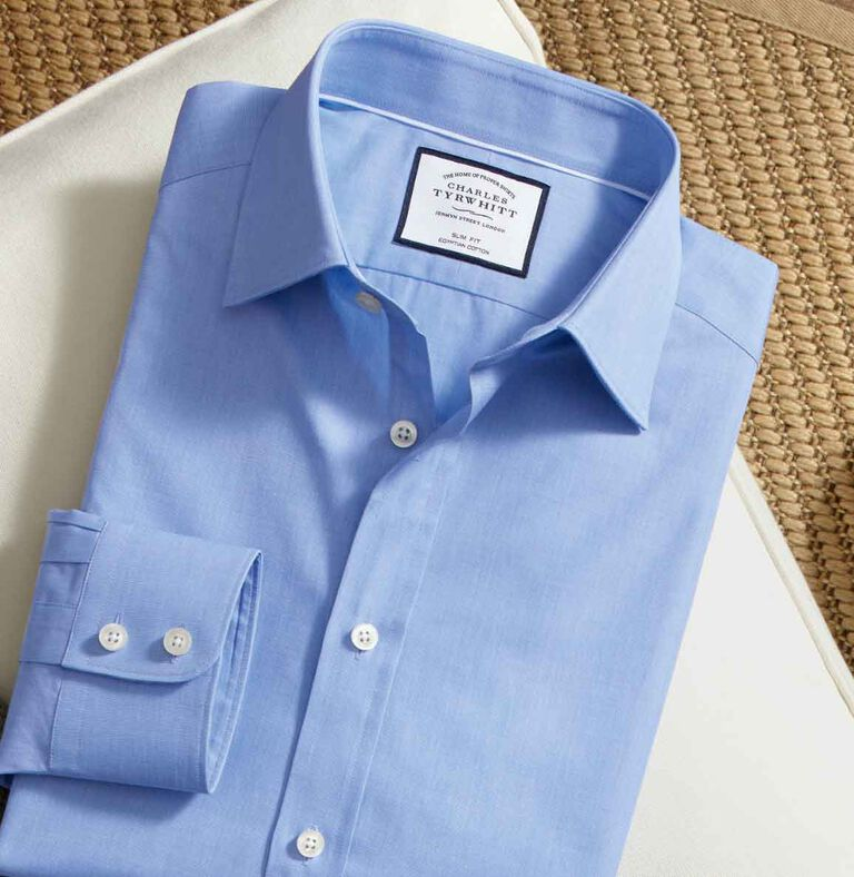 Blue Egyptian cotton shirt folded