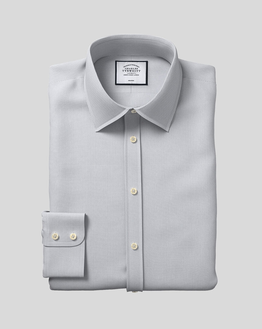 Classic Collar Non-Iron Mini Herringbone Shirt - Grey