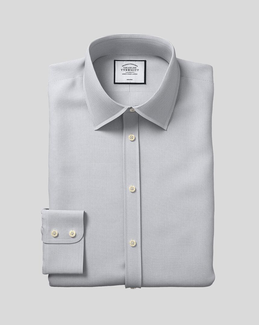 Bügelfreies Hemd mit Kent-Kragen und Mini-Fischgrätmuster - Grau