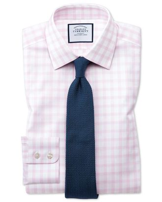 Classic fit windowpane check pink shirt