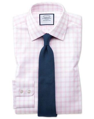 Classic fit windowpane check pink shirt