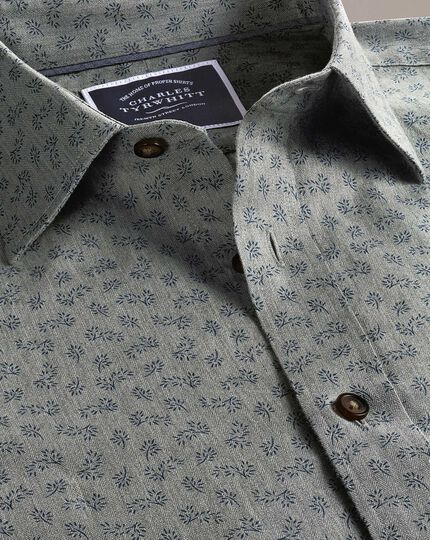 Slim fit grey floral print shirt