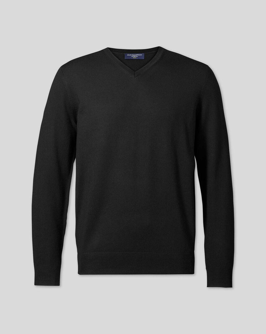 Merino V-Neck Jumper - Black