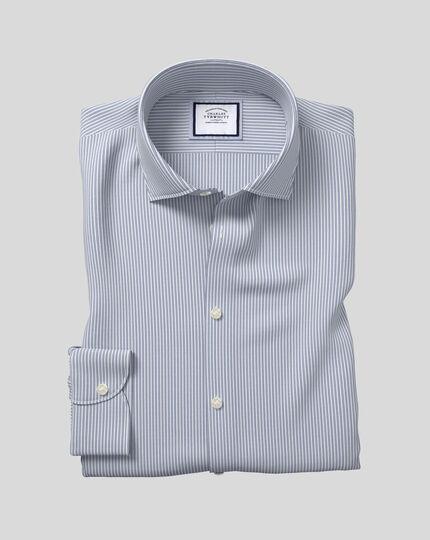 Geschmeidig smartes Hemd mit Business-Casual-Kragen und Streifen -  Blau