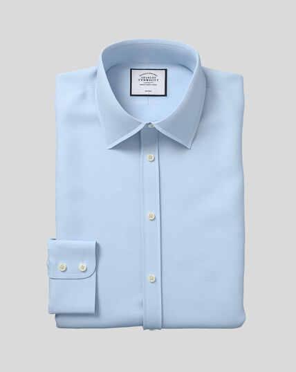 Bügelfreies Popeline-Hemd mit Kent Kragen  - Himmelblau