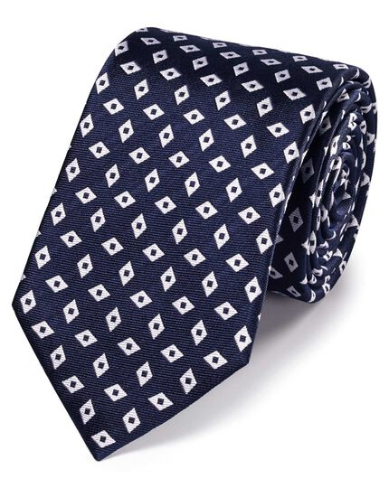 Navy and white silk diamond pattern classic tie