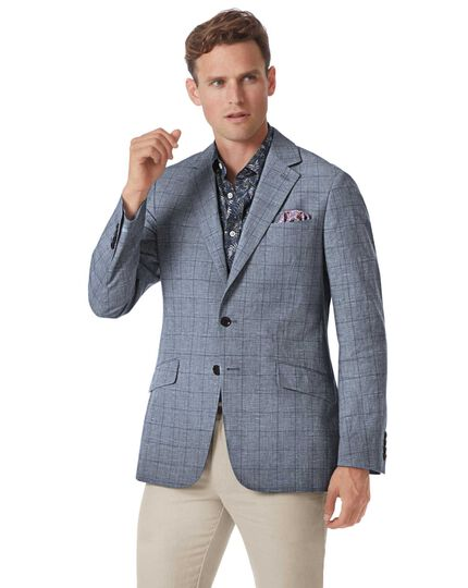Slim fit mid blue Prince of Wales check cotton linen jacket