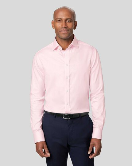 Semi-Cutaway Collar Egyptian Cotton Twill Bengal Stripe Shirt - Pink