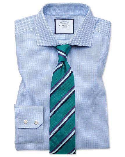 Extra Slim Fit Hemd mit Struktur und Hahnentrittmuster und Haifischkragen in Himmelblau