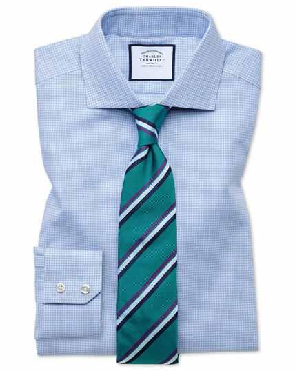 Extra slim fit spread collar textured puppytooth sky blue shirt