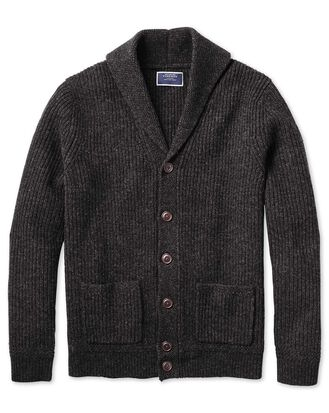 Charcoal shawl collar lambswool cardigan