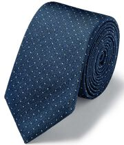 Light blue and white micro spot slim tie