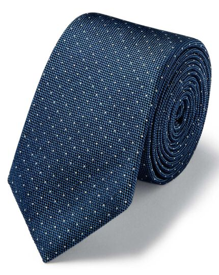 Light blue and white spot silk slim tie