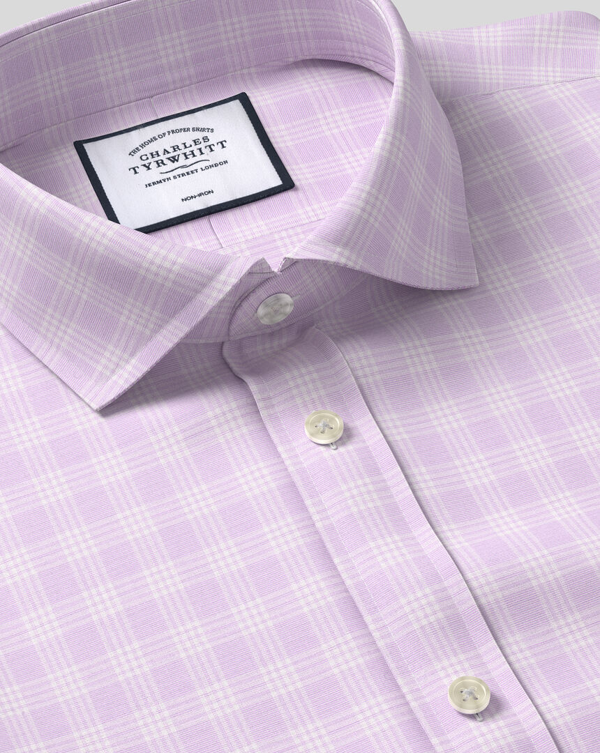 Cutaway Collar Non-Iron Prince of Wales Check Shirt - Lilac