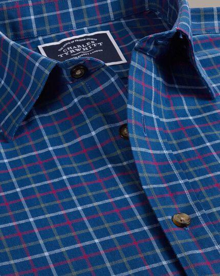 Gebürstetes Slim Fit Hemd mit Karomuster in Blau und Bunt