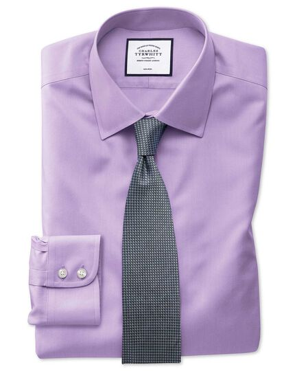 Slim fit light lilac non-iron twill shirt