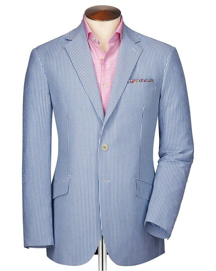 Slim fit blue and white striped seersucker jacket