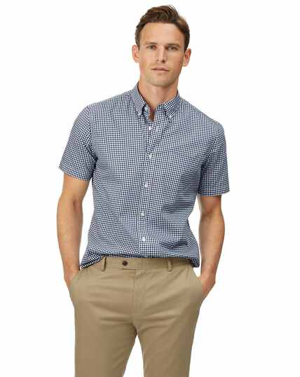 Chemise à manches courtes en popeline stretch soft washed bleu marine à carreaux vichy slim fit sans repassage