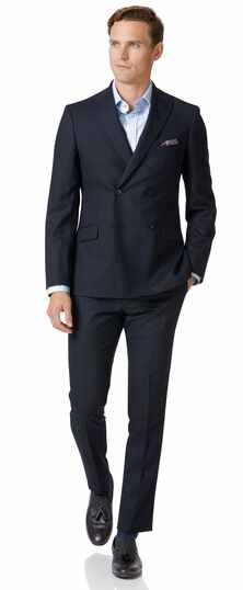 Costume business bleu nuit en laine mérinos extra slim fit à double boutonnage