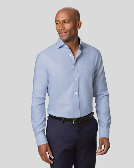 Cutaway Collar Non-Iron Ludgate Weave Shirt - Blue