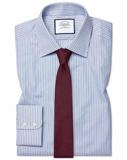Extra slim fit poplin fine stripe blue shirt
