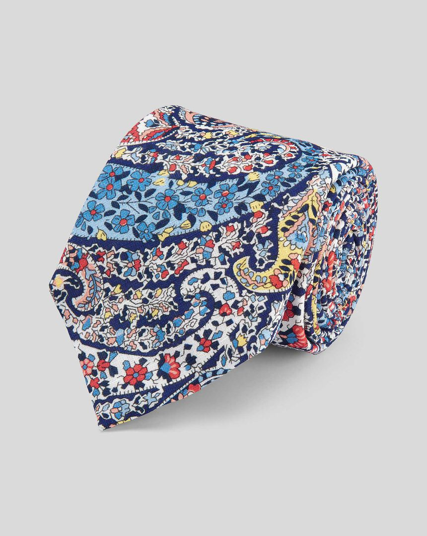 Paisley Cotton Linen Printed Classic Tie - Blue Multi