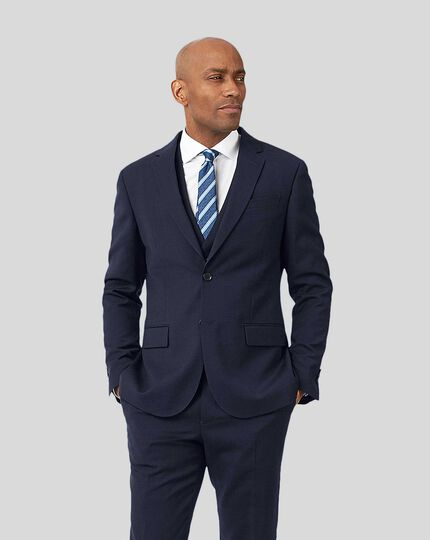 Business Suit Textured Jacket - Navy