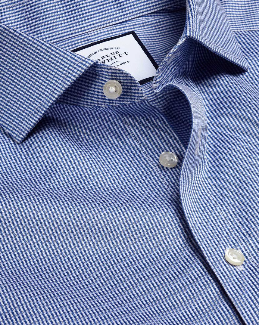 Spread Collar Non-Iron Puppytooth Shirt  - Royal Blue