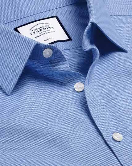 Bügelfreies Hemd mit Mini-Fischgrätmuster - Blau