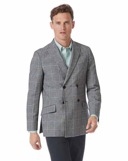Slim fit grey Prince of Wales check cotton linen jacket