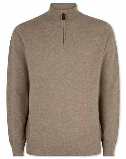 Mocha cashmere zip neck jumper