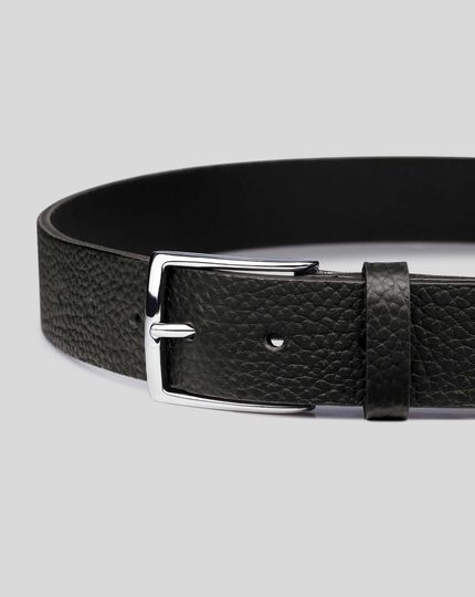 Made in England Textured Leather Chino Belt - Black