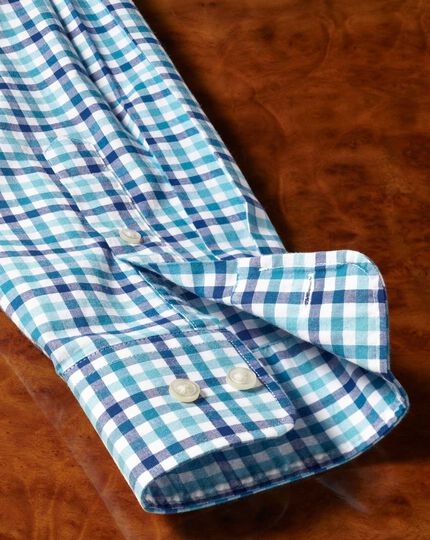 Slim fit poplin blue multi gingham shirt