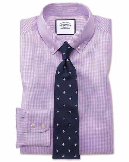 Slim fit button-down non-iron twill puppytooth lilac shirt