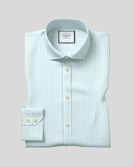 Cutaway Collar Stretch With TENCEL™ Stripe Shirt - Aqua