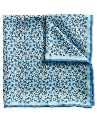 Sky blue classic floral pocket square