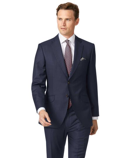 Navy slim fit wool with cashmere Italian suit jacket