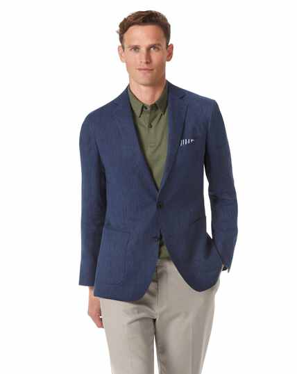 Slim fit mid blue Italian linen jacket